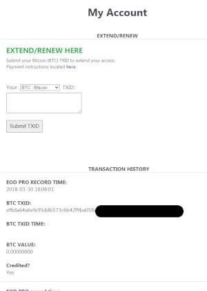 renew account and transactions page
